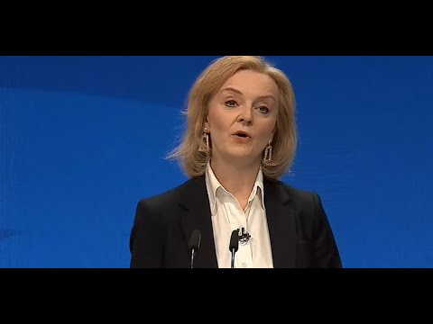 Foreign Secretary Liz Truss addresses the Tory Party Conference