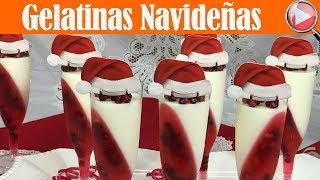 Gelatinas Navideñas de Yogurt con Granada - Postre Navideño - Recetas en Casayfamiliatv