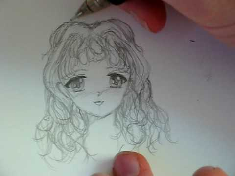 draw anime hair curly
