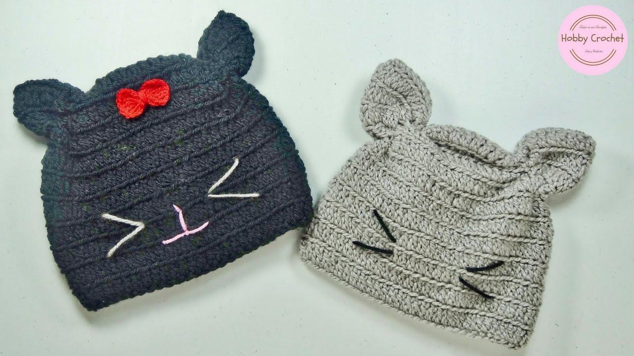 Gorro gato a crochet fácil (todas las tallas) paso a paso. - YouTube