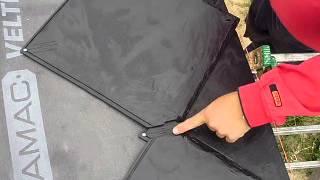 Plastová střecha  Tachovská břidla  montáž druhá řada +dilatační mezera