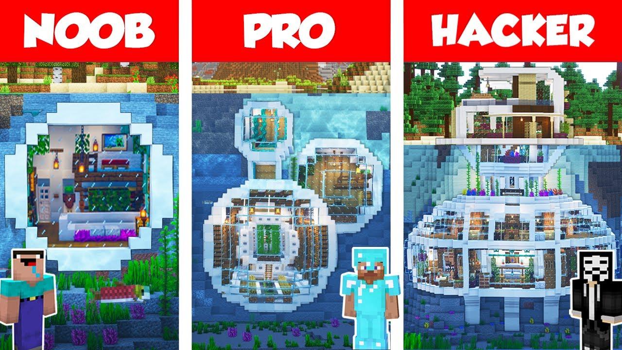 Download Minecraft NOOB vs PRO vs HACKER: UNDERWATER MODERN HOUSE BUILD CHALLENGE in Minecraft / Animation