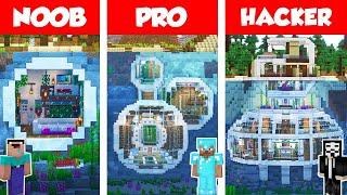Minecraft NOOB vs PRO vs HACKER: UNDERWATER MODERN HOUSE BUILD CHALLENGE in Minecraft / Animation
