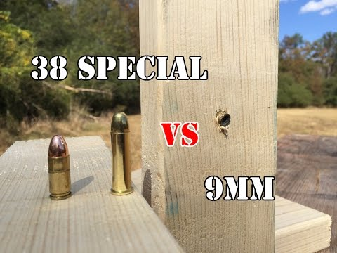 9mm vs.38 Special. Wood Test
