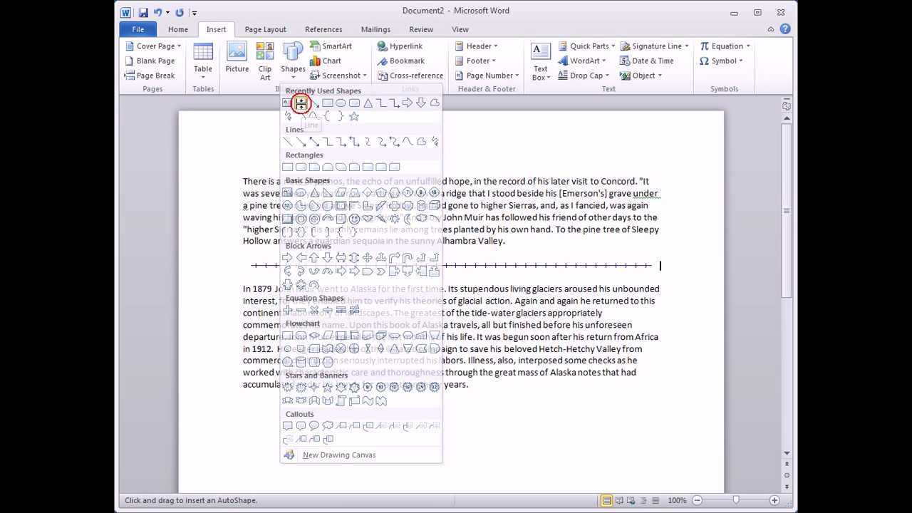 how to make a horizontal line in word