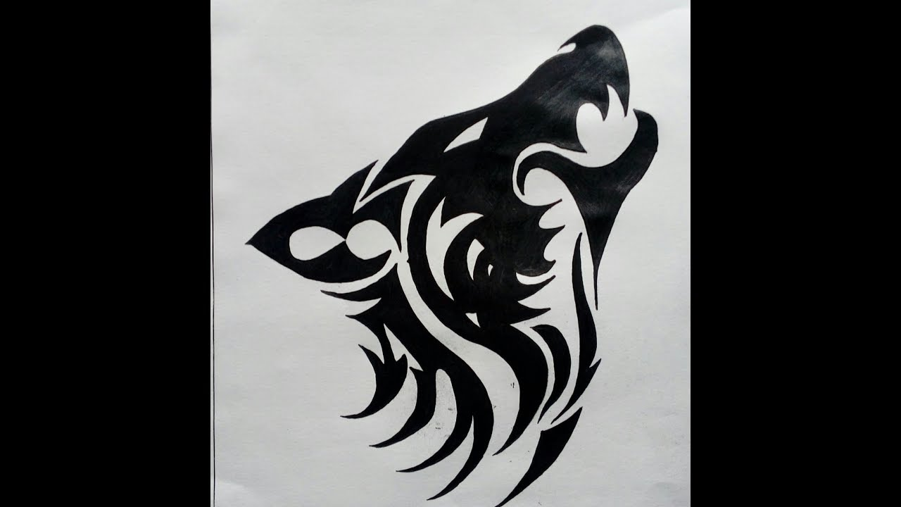 How To Draw A Tribal Howling Wolf Tattoo Easy Method Madmaxx