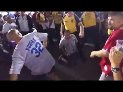 Dodgers vs Angels - Fans Fighting at Angela Stadium - 8-27-2014