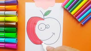 Drawing a Smiling Apple Very Easy For Kids