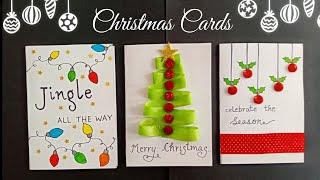 3 Christmas Cards for Kids/Handmade Cute Christmas Greeting Cards/Christmas Card Making Ideas
