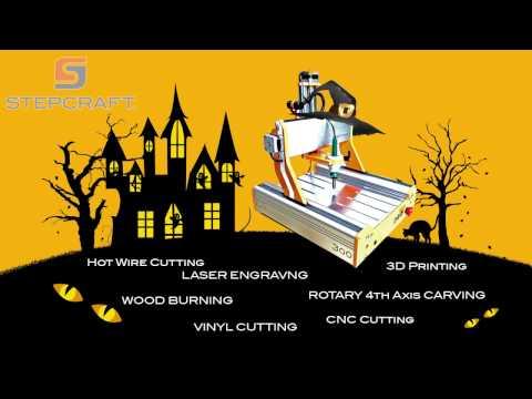 Stepcraft Halloween Projects - Laser, Hot Wire, 3D Print, Wood Burn, 4th Axis, CNC Cut, Vinyl Cut
