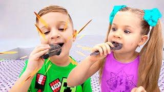 Diana and Roma - Real food vs Chocolate food challenge