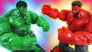 Marvel transform Red Hulk vs Hulk! Defeat villains that harass Disney Cars - DuDuPopTOY