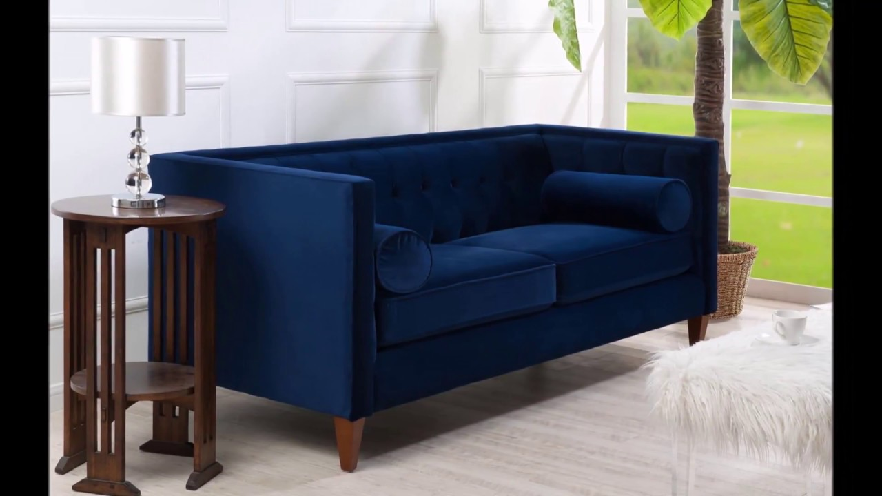 Jennifer Taylor Jack Tuxedo Sofa Couch Navy Blue For Living Room Den Office