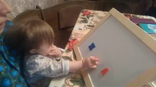 Ребёнок с синдромом Дауна.1,10 мес..Раннее обучение.A child with down syndrome.Of 1.10 months.