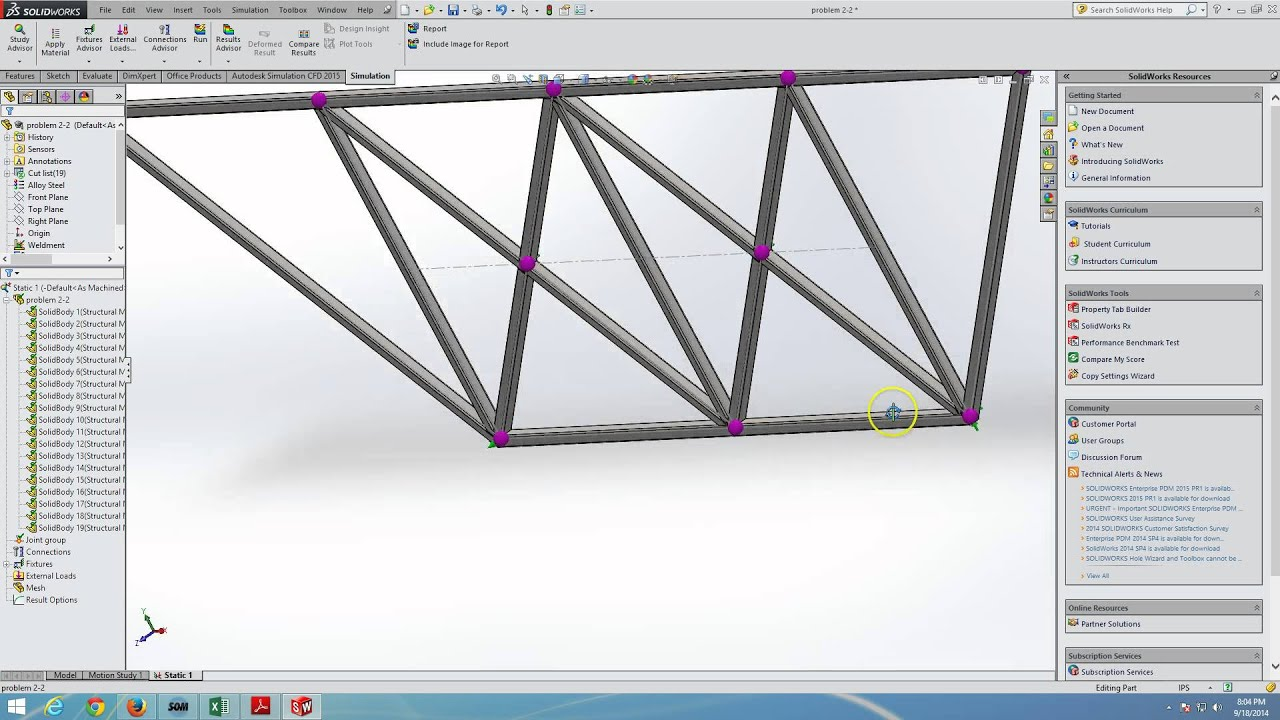 Truss/Frame Analysis in SolidWorks - YouTube