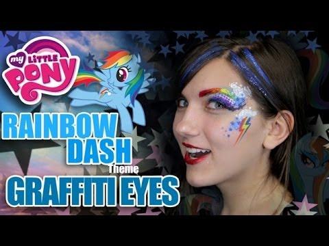 Rainbow Dash Graffiti Eyes - Fun Face Painting Makeup Tutorial
