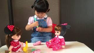 レミンちゃん&ソランちゃんと遊んだよ☆はみがきとミルクでお世話!