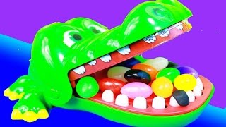 CANDY Crocodile DENTIST Fun Family Night Kids Game Toys Surprises Shopkins Video Toy Review