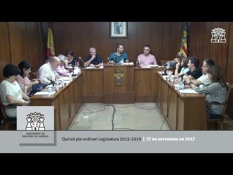 Ple municipal del 27 de setembre de 2017   Banyeres de Mariola
