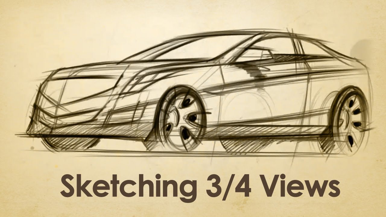 How to Draw a Cadillac in 3/4 view - YouTube
