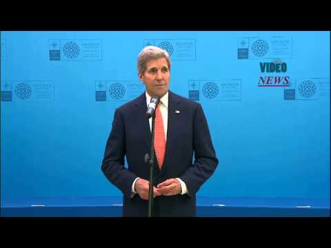 U S  Secretary of State John Kerry speaks in Turkey's Antalya