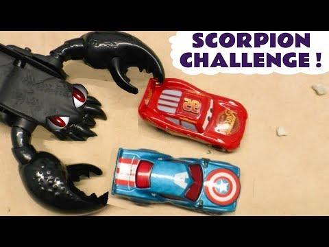 Disney Cars Toys McQueen Hot Wheels Scorpion Challenge Sting with Batman Superman and Hulk TT4U