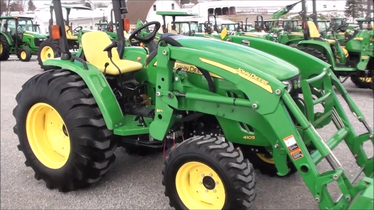 John Deere 4105 : John deere tractor with loader for sale by mast