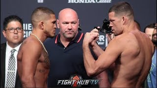 NATE DIAZ AND ANTHONY PETTIS HAVE INTENSE FACE OFF AT UFC 241 WEIGH IN!