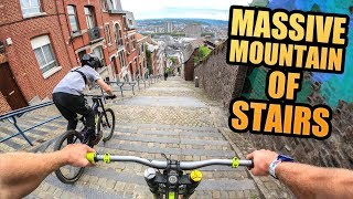 RIDING THE MASSIVE MOUNTAIN OF STAIRS - URBAN MTB DOWNHILL