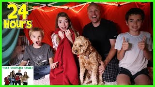 24 Hours In Huge Blanket Fort / That YouTub3 Family
