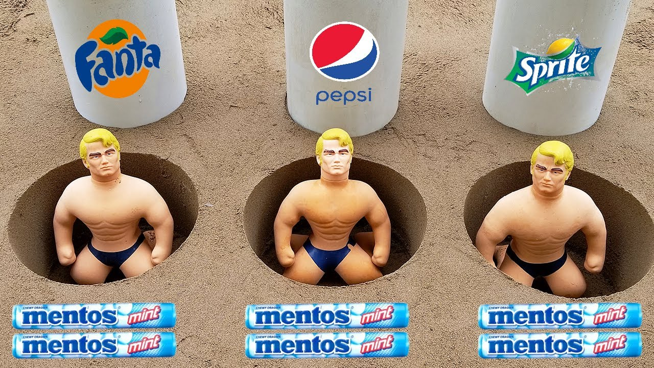 Coca Cola, Fanta, Sprite, Pepsi and Mentos vs Stretch Armstrong in Different Holes Underground