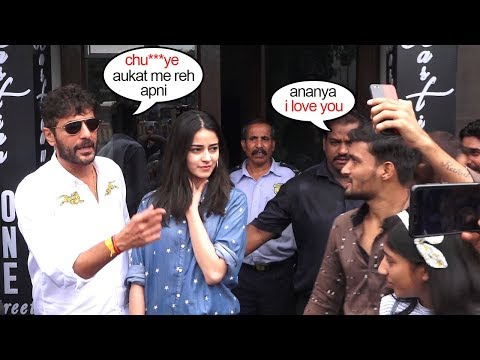 Watch Chunky Pandey Bust Out With Anger On Ananya Pandey's Fan | @ngry Reaction