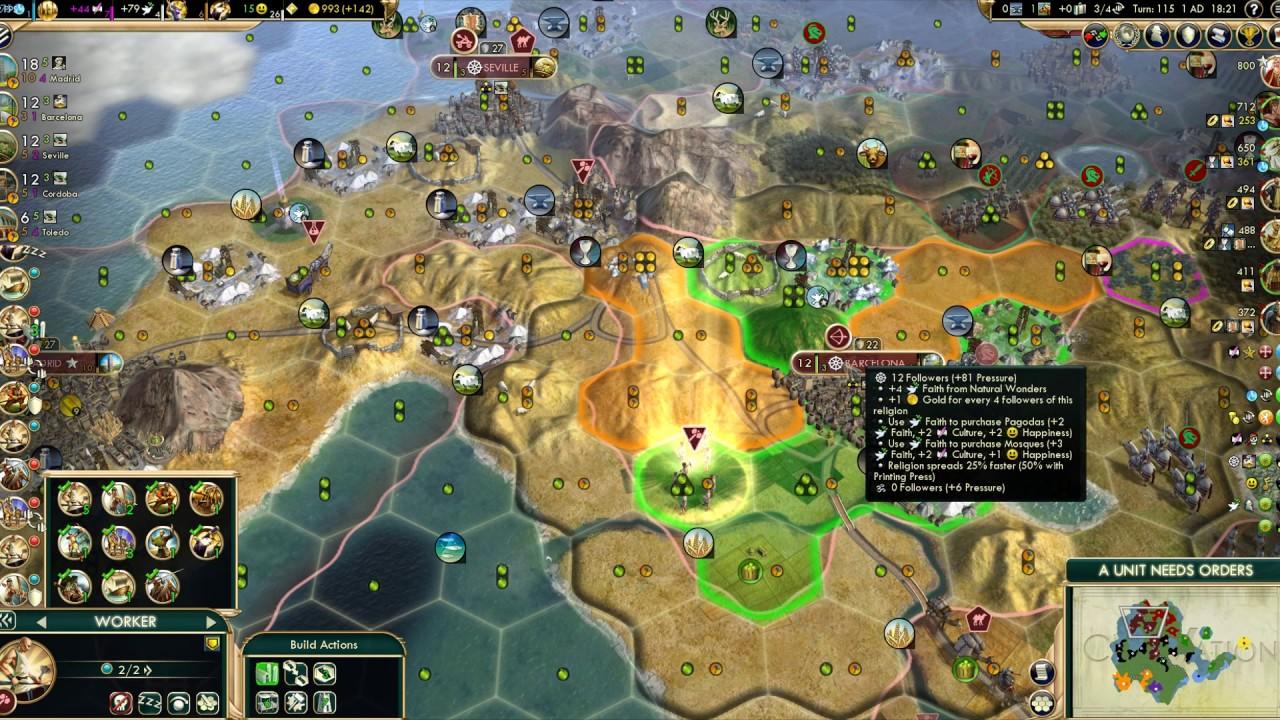 200 turns Civ 5 Spain Deity Science Victory Speedrun Part 4