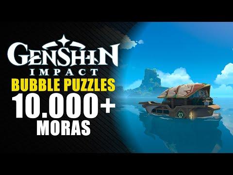 Genshin Impact guía - 1.6 - Consigue 15.000 mora con los puzzles de burbujas.