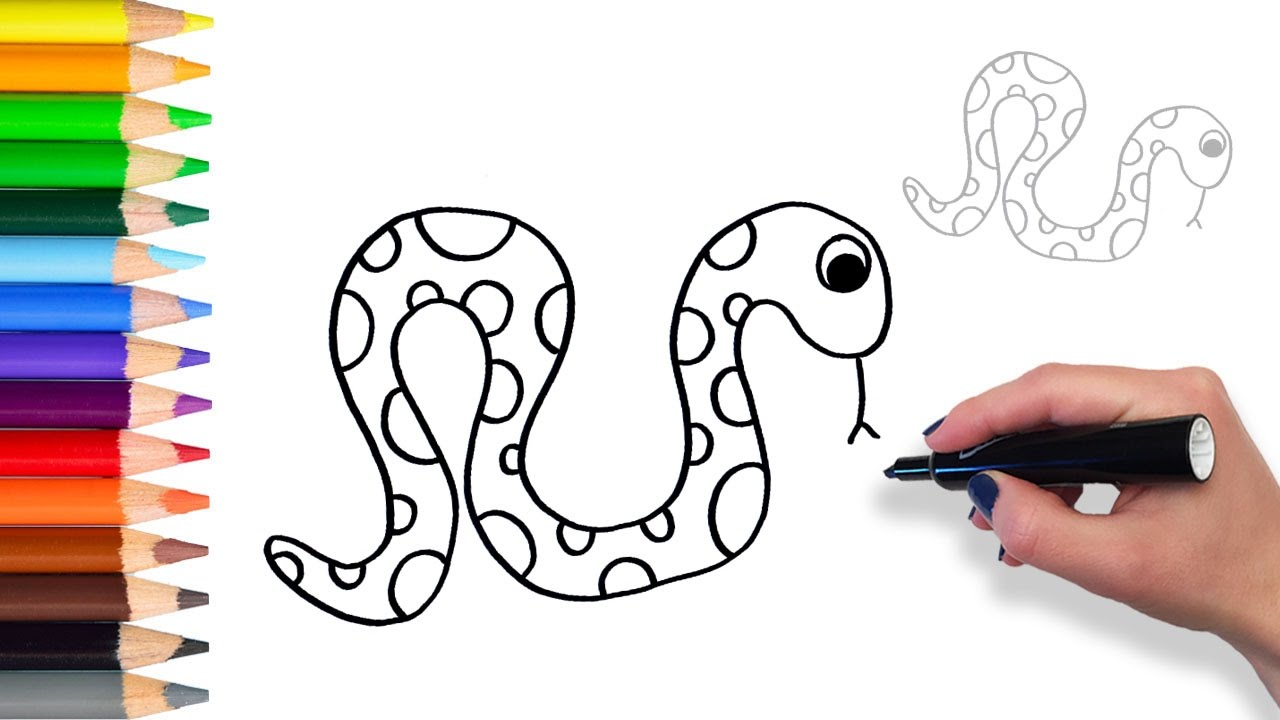 learn how to draw snake teach drawing for kids and toddlers