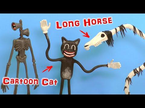 CARTOON CAT  и LONG HORSE Страшилки от Тревора Хендерсона   Видео Лепка