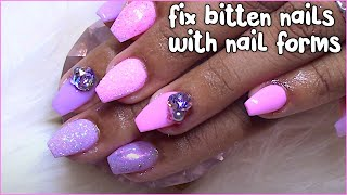 Pink and Purple Shorties Acrylic Nails