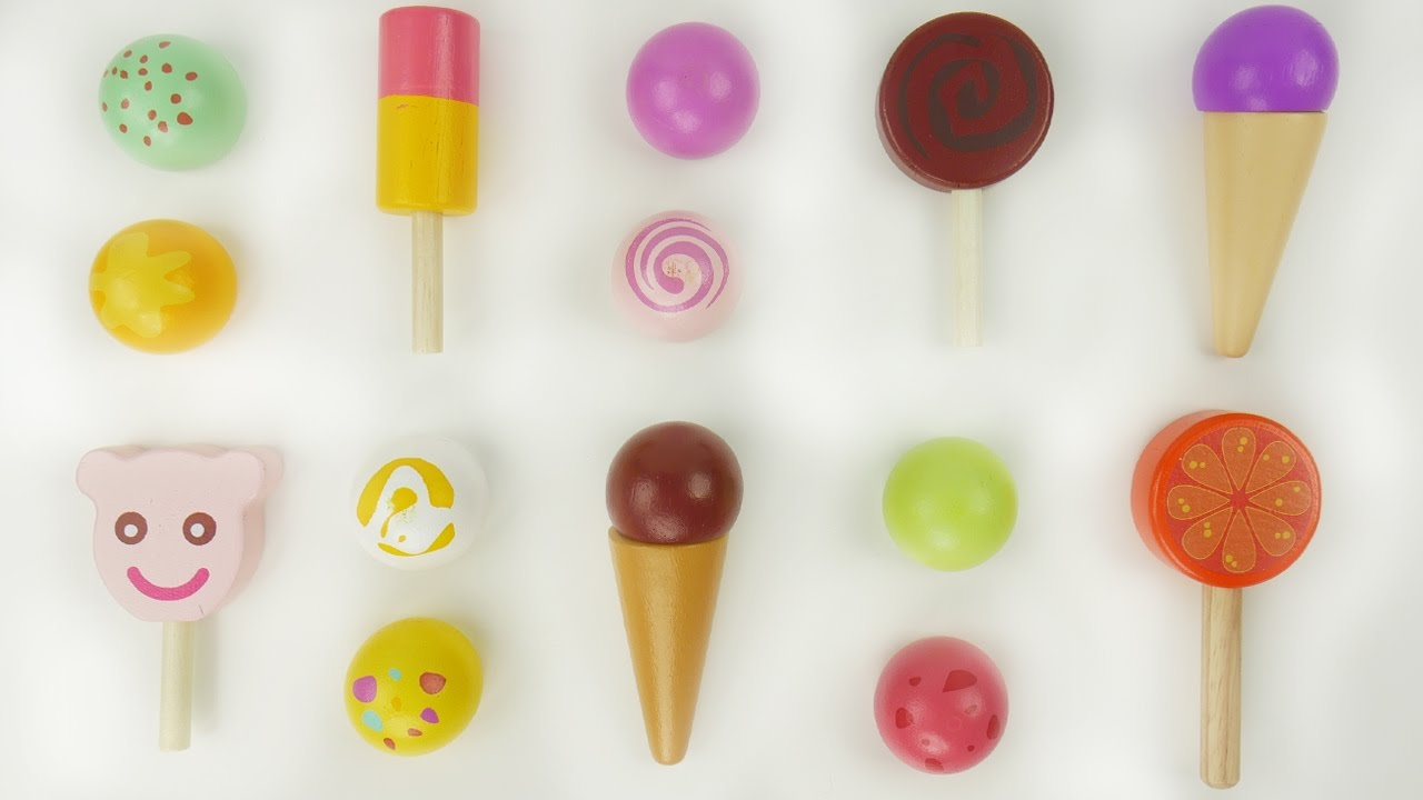 Teach kids foods and colors with wood ice cream