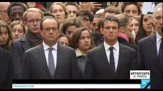 Recueillement en France et Marseillaise - 1 minute de silence observée après les attentats de Paris