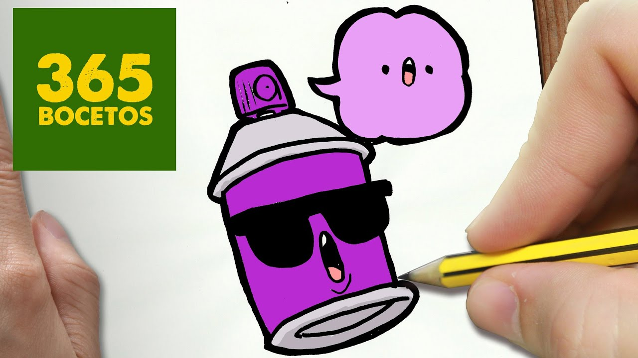 COMO DIBUJAR SPRAY KAWAII PASO A PASO , Dibujos kawaii faciles , How to draw a SPRAY , YouTube