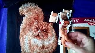 Вышивка крестиком. Готовая работа,Риолис Рыжий кот