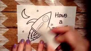 Lunch Box Love Note...How to Draw a Rocket Tutorial.