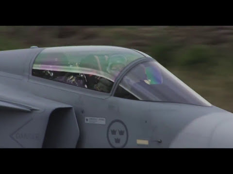 Swedish Air Force SAAB Gripen, short take off and landing on public road - Aurora 17 exercise