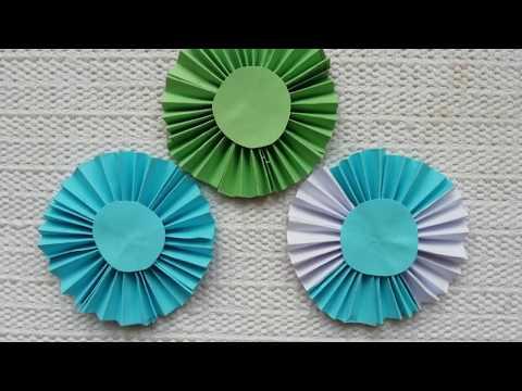 Paper fan flower||circle fan flower||Backdrop paper flower||কাগজ দিয়ে ফুল তৈরি||