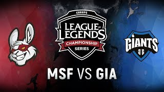 MSF vs. GIA - Week 8 Day 2 | EU LCS Spring Split |  Misfits Gaming vs. Giants Gaming (2018)