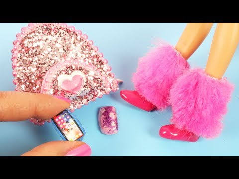 DIY Barbie Hacks and Crafts - Mini Phone Cases, Shoes, Doll Bag - How To Make Miniatures Tutorial
