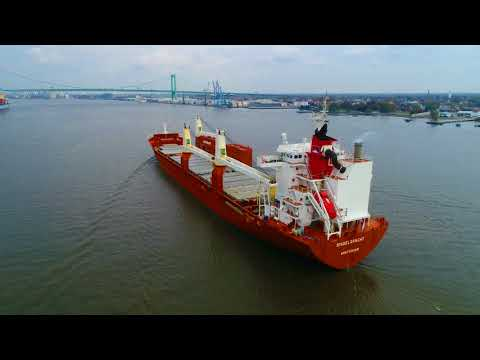 Aerial Drone Video of Cargo Ship Singelgracht Delaware River Philadelphia