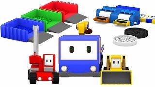 Mieszanie kolorów - ucz się kolorów z Małymi Samochodzikiami: buldożer, dźwig, koparka