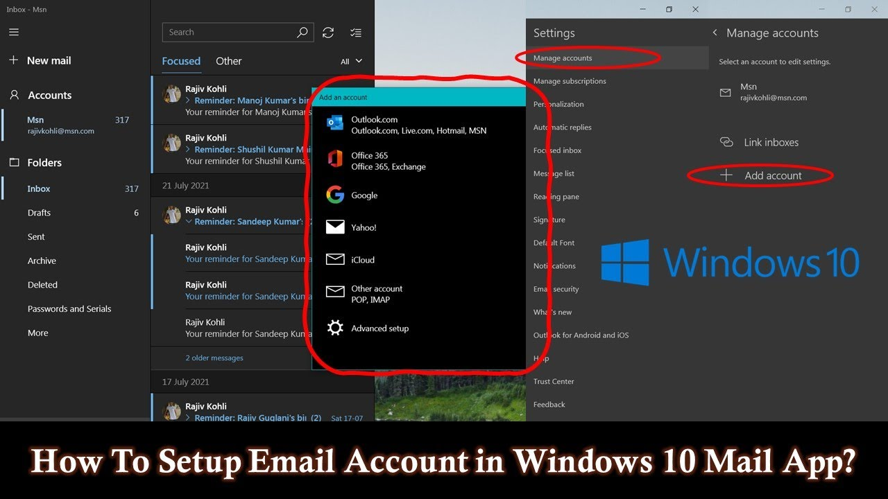How to add or remove email accounts in windows 10 mail app for Acc email