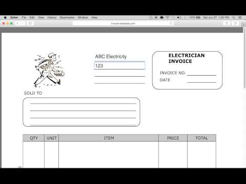 Simple Invoice Template Pdf Youtube Blank Invoice Template – Electrician Invoice Template